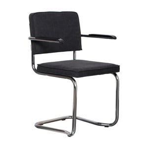 Sada 2 antracitovo sivých stoličiek s opierkami Zuiver Ridge Kink Rib