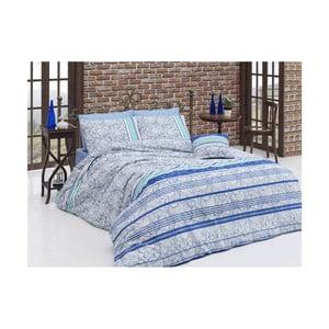 Modré bavlnené obliečky s plachtou na jednolôžko Stripe, 140×200 cm