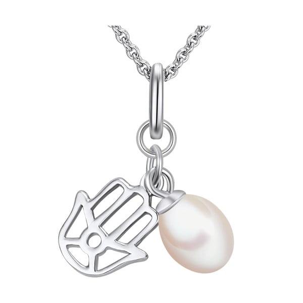 Strieborný náhrdelník s príveskom a perlou Chakra Pearls, 70 cm