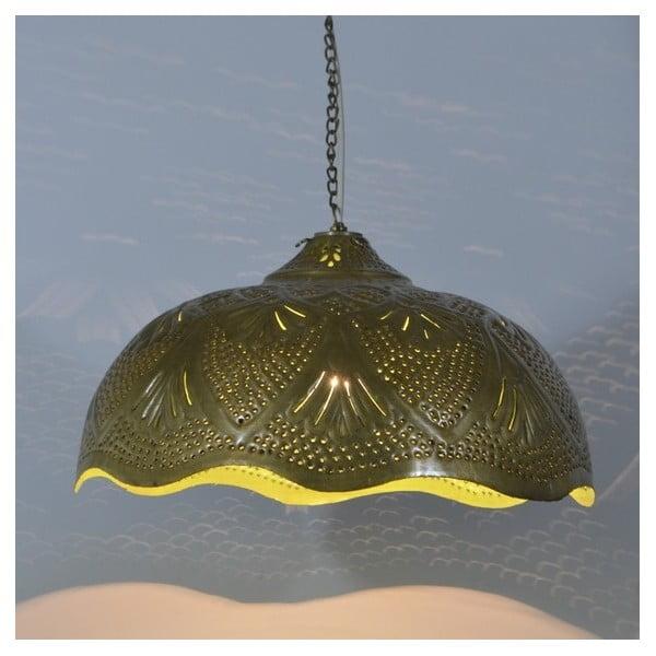 Mosadzné tienidlo Rajastan, zlato-zelená