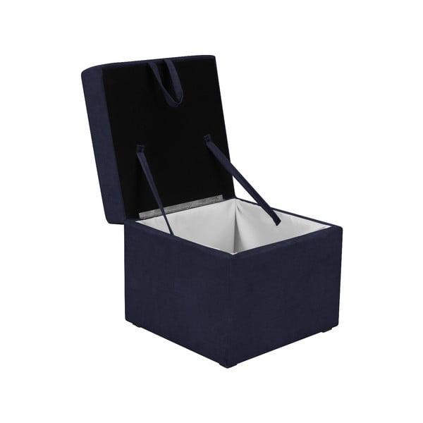 Tmavomodrá taburetka s úložným priestorom KICOTI Cube