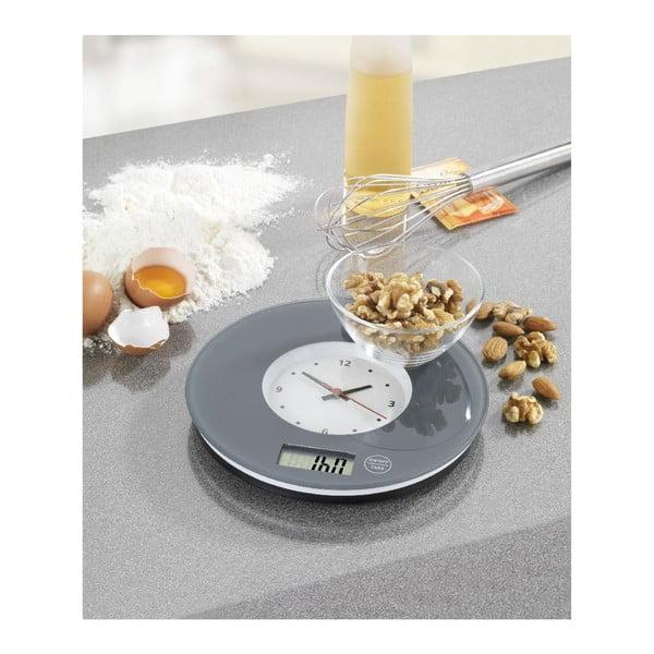 Sivá kuchynská váha s hodinami Wenko Clock