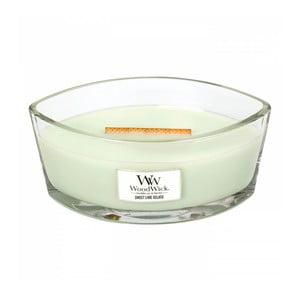 Sviečka s vôňou citrónu, limetky, vanilky a smotany Woodwick Sladká zmrzlina, doba horenia 80 hodín