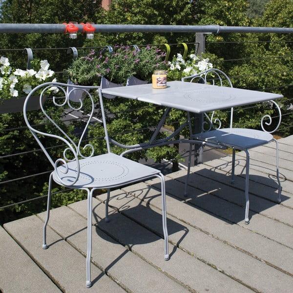 Skladacia lavica so stolíkom na balkón Nature, sivá