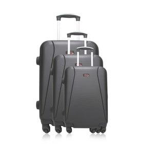 Sada 3 čiernych cestovných kufrov na kolieskach Hero Jackson