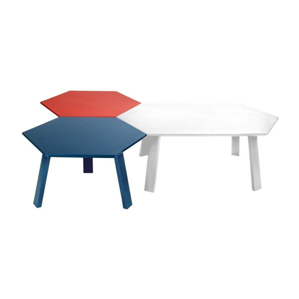 Konferenčný stolík Hexagon Pearl White, 105x37x61 cm