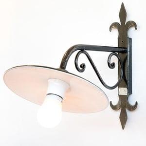 Čierne kovové vonkajšie nástenné svietidlo Cruccolini Umbria, výška 41 cm