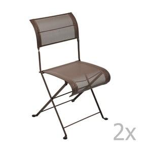 Sada 2 hnedých skladacích stoličiek Fermob Dune