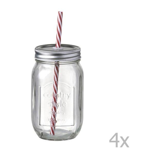 Sada 4 pohárov so slamkami Parlane  Straw