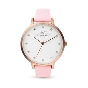 Dámske hodinky s ružovým koženým remienkom Victoria Walls Dusk