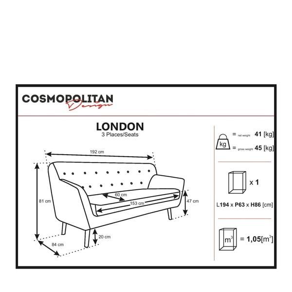 Sivobéžová pohovka pre troch Cosmopolitan design London