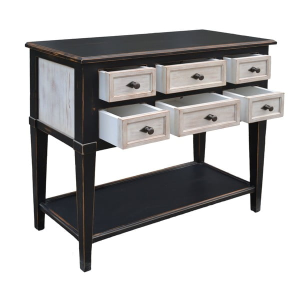 Odkladací stolík so 6 zásuvkami Erased Black White