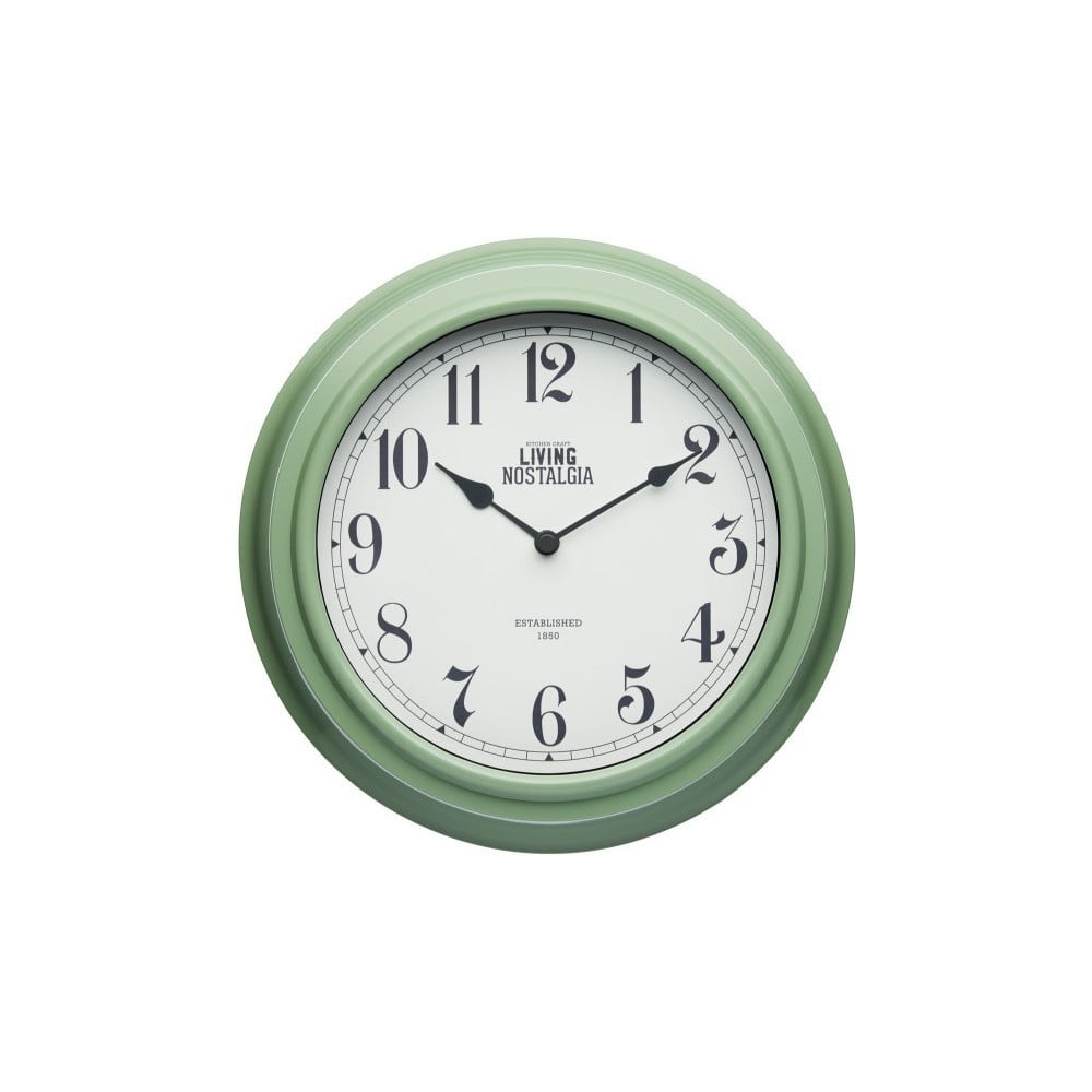 Zelené nástenné hodiny Kitchen Craft Living Nostalgia, ⌀ 25,5 cm