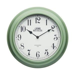 Zelené nástenné hodiny Kitchen Craft Living Nostalgia, Ø 25,5cm