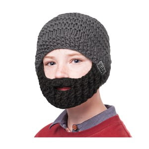 Sivá detská čiapka s čiernou bradou Beardo Kids