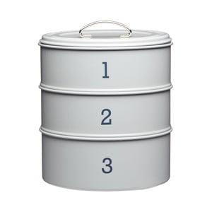 """Sivá sada troch plechových dóz Kitchen Craft """"123"""""""