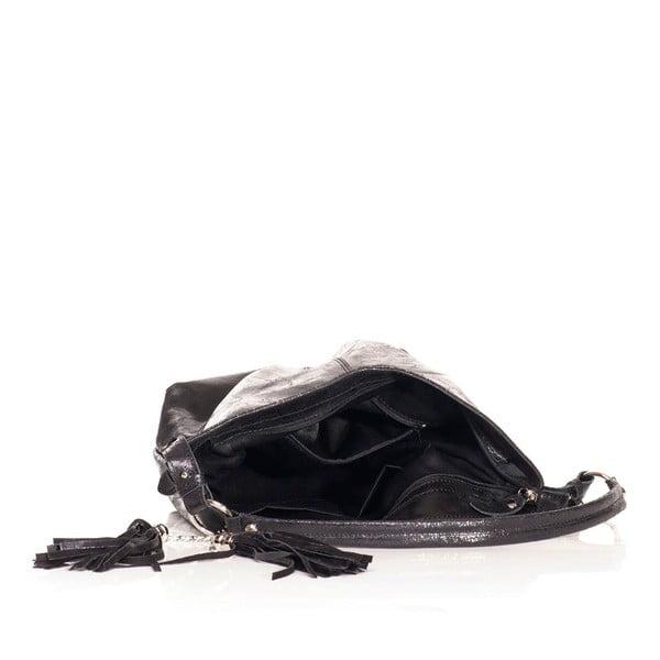 Kožená kabelka Federica Bassi Holo Black