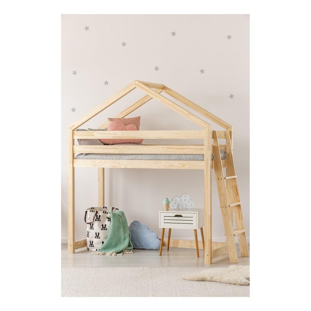 Domčeková poschodová posteľ z borovicového dreva Adeko Mila DMPBA, 70 × 140 cm