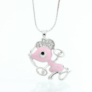 Náhrdelník so Swarovski Elements, ružová myška