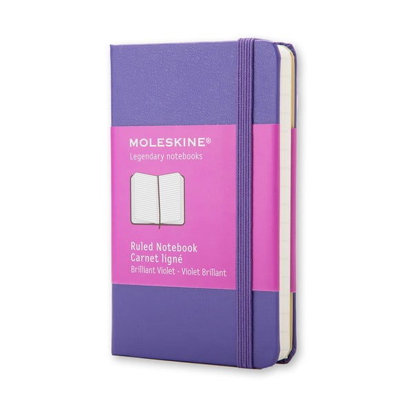 Fialový zápisník Moleskine XS, linajkový