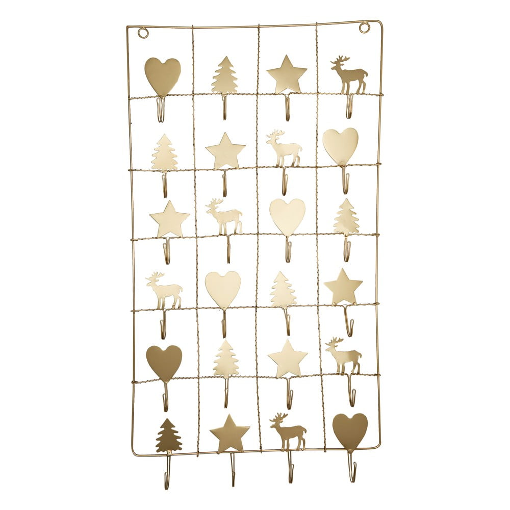 Kovový adventný kalendár v zlatej farbe Green Gate, dĺžka 71 cm