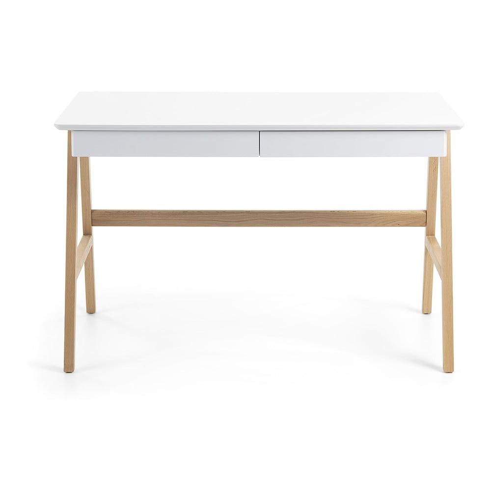 Pracovný stôl s bielou doskou La Forma Ingo, 120 x 60 cm