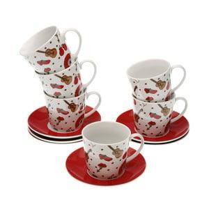 Set 6 porcelánových šálok s tanierikmi Versa Espaňa, 220 ml