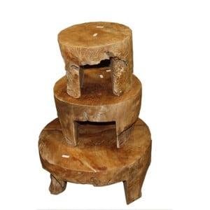 Sada 3 konferenčných stolíkov z teakového dreva HSM Collection Mara