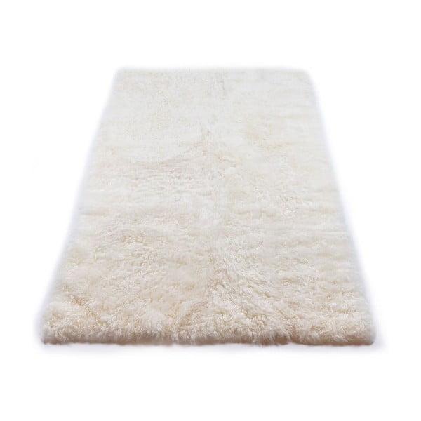 Biely kožušinový koberec s krátkym chlpom, 165 x 100 cm