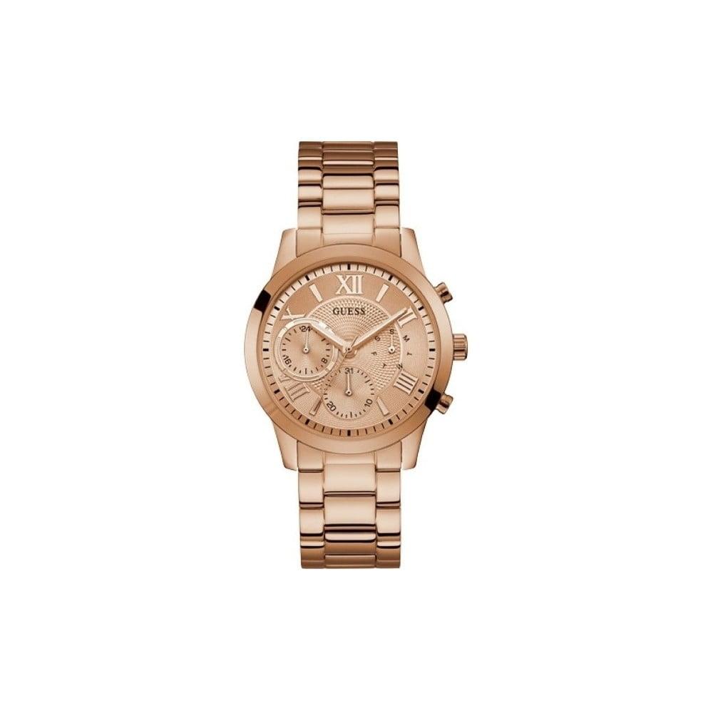 Dámske hodinky v ružovozlatej farbe s antikoro remienkom Guess W1070L3