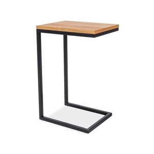 Odkladací stolík s doskou v dubovom dekore a čiernou oceľovou konštrukciou Signal Largo