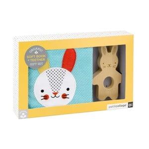 Set textílnej knižky a dreveného hryzadla Petit collage Rabbit