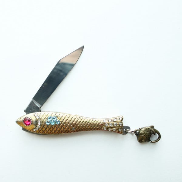 Český nožík rybička, zlatý s farebnými kryštálmi