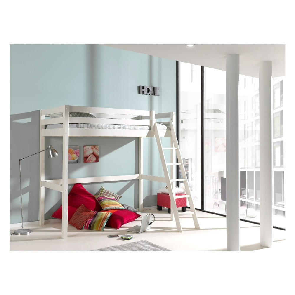 Biela detská posteľ s rebríkom Vipack Pino, 90 × 200 cm