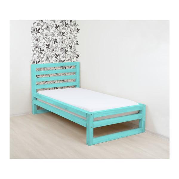 Tyrkysovomodrá drevená jednolôžková posteľ Benlemi DeLuxe, 190 × 90 cm