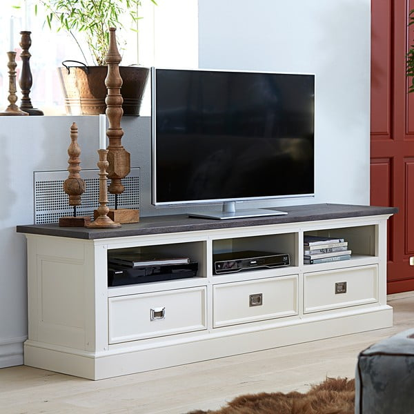 Biely televízny stolík Canett Skagen TV Unit, 3 zásuvky