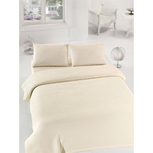 Krémová ľahká prikrývka cez posteľ Burumcuk, 160x235cm
