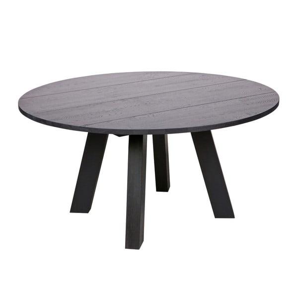 Čierny jedálenský stôl z dubového dreva WOOOD Rhonda, Ø 150cm