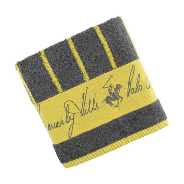 Sivo-žltý bavlnený uterák BHPC, 50x100cm