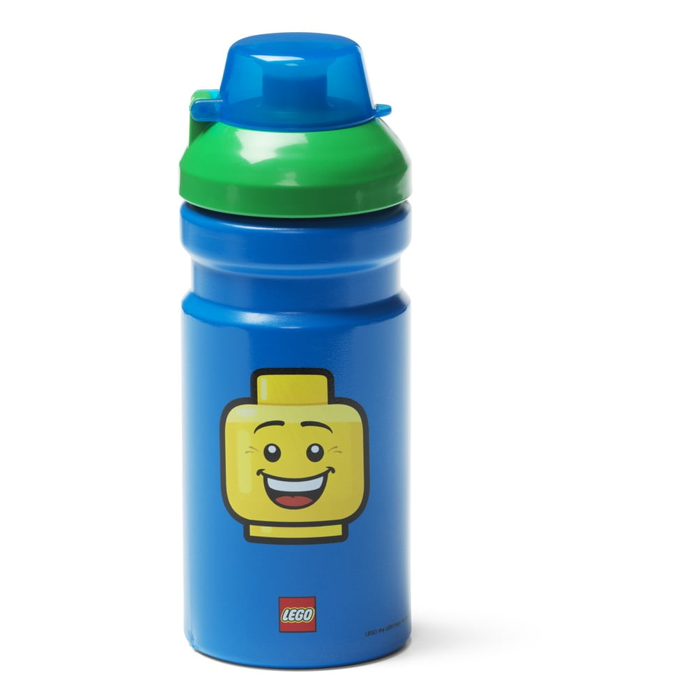Modrá fľaša na vodu so zeleným vekom LEGO® Iconic, 390 ml