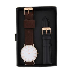Set tmavohnedých pánskych hodiniek s remienkami Black Oak Elegant