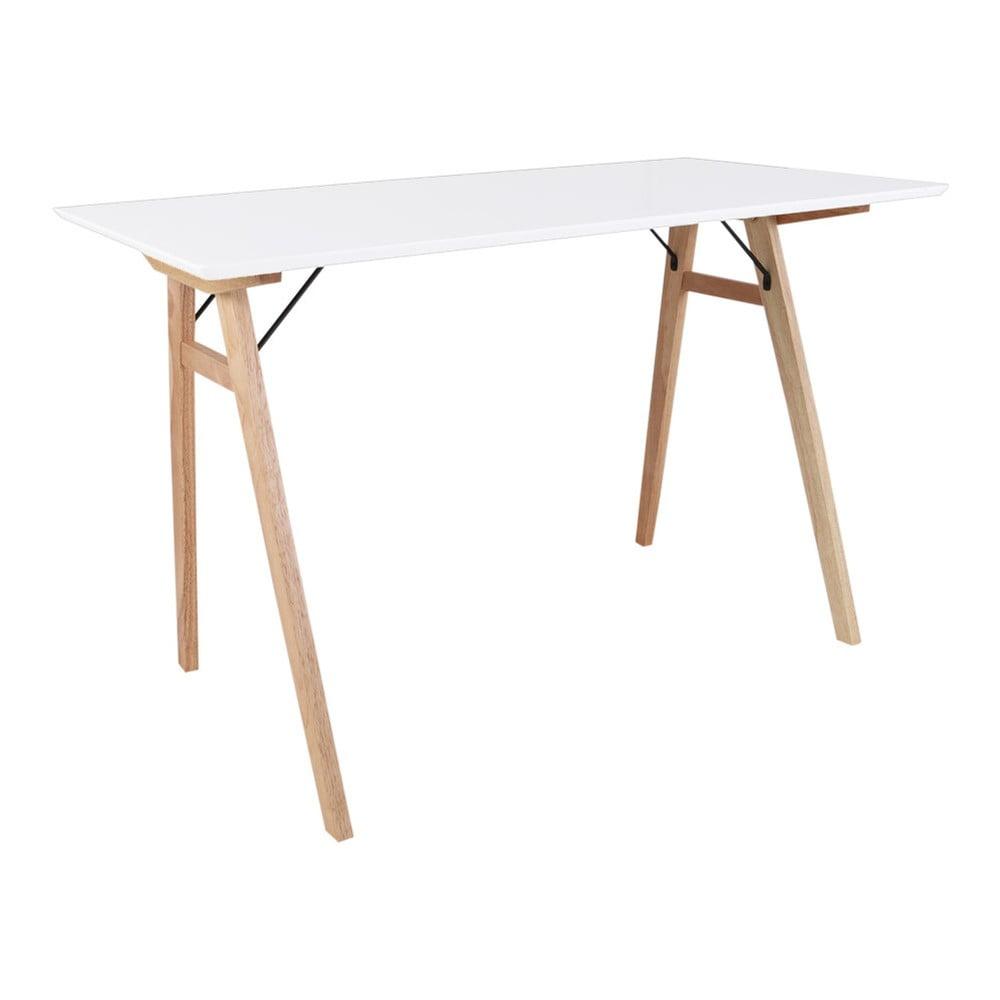Biely stôl s hnedými nohami House Nordic Vojens Desk, dĺžka 120 cm