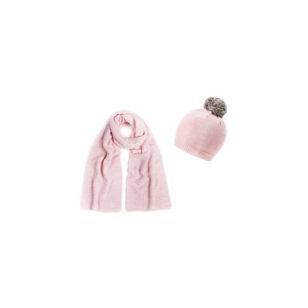 Ružová čiapka so šálom Lavaii Pom