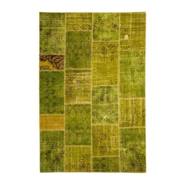 Vlnený koberec Allmode Patchwork Green, 150x80 cm