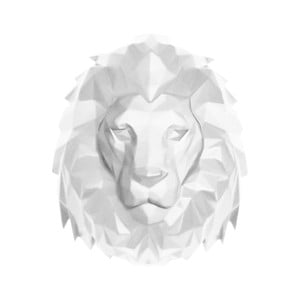 Matne biely nástenný vešiak PT LIVING Origami Lion