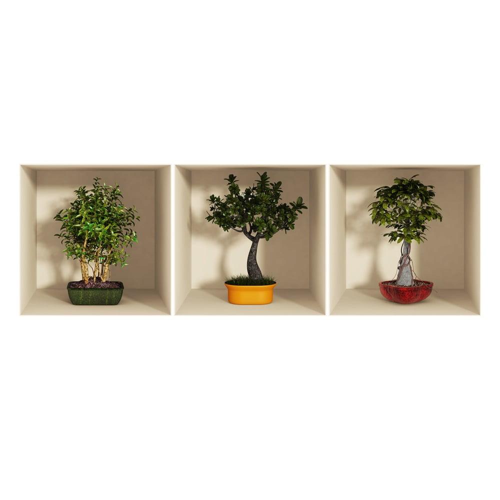 Sada 3 samolepiek s 3D efektom Ambiance Bonsai Trees