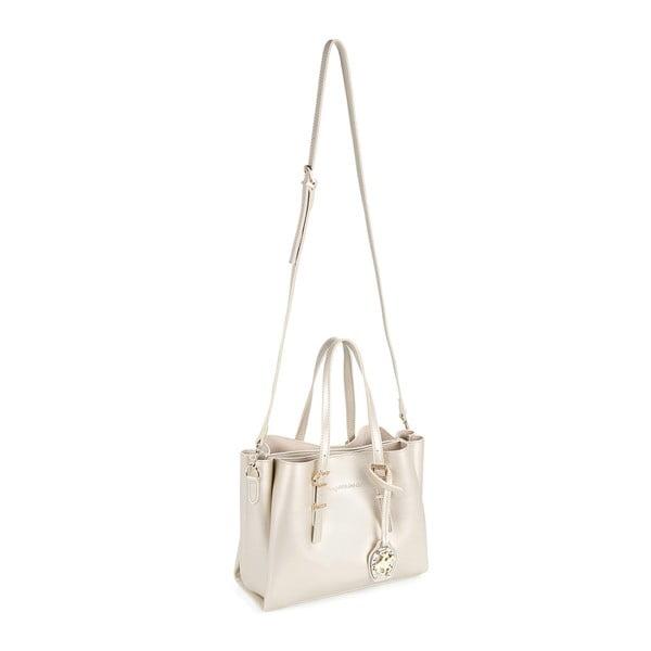 Krémovobiela kabelka z eko kože so zlatými odleskami Beverly Hills Polo Club Alicia