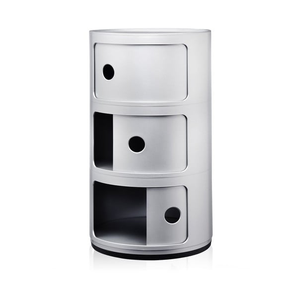 Strieborný kontajner s 3 zásuvkami Kartell Componibili
