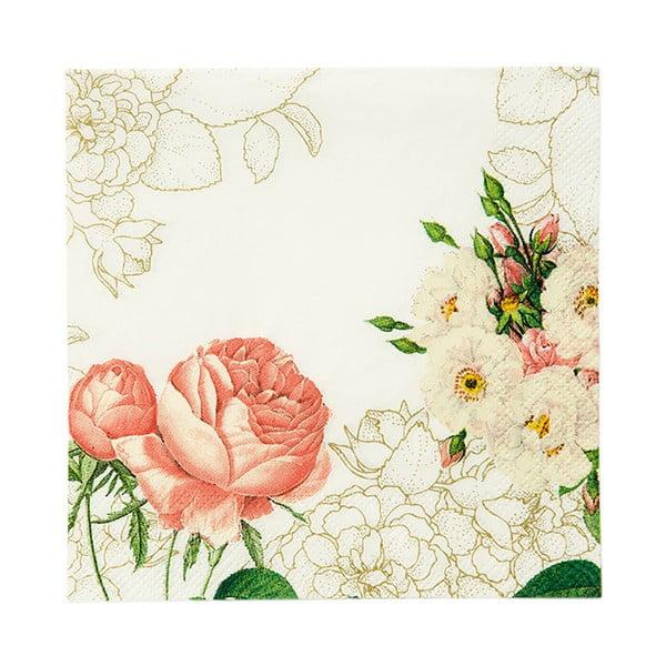 Sada 20 papierových obrúskov Flowers