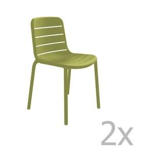 Sada 2 zelených záhradných stoličiek Resol Gina Garden